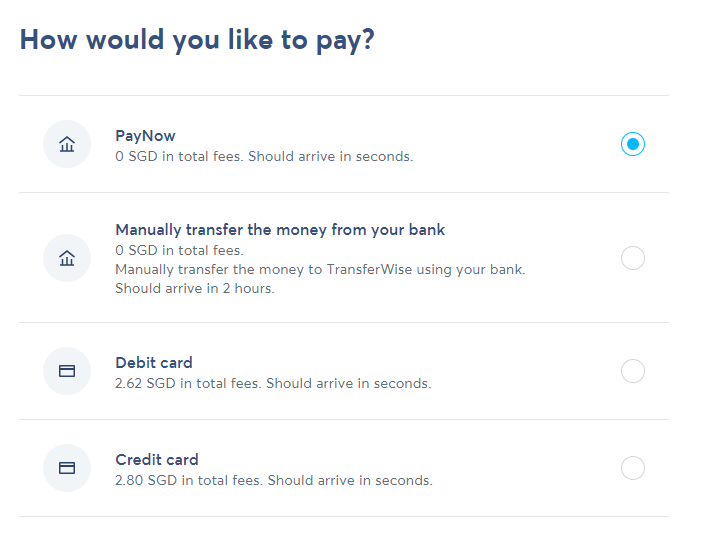 Transferwise Payment Type